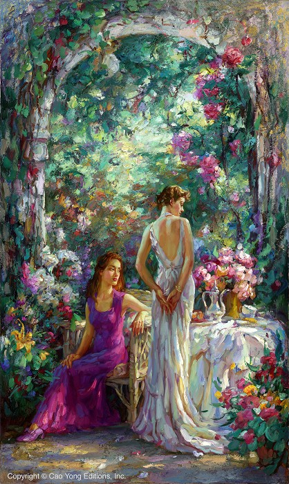 Cao Yong Afternoon Tea Giclee On Canvas The Romantic Garden Series