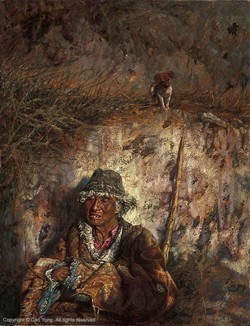 Cao Yong An Old Man And A Dog Artist Proof Giclee On Canvas Artist Proof The Tibet Series