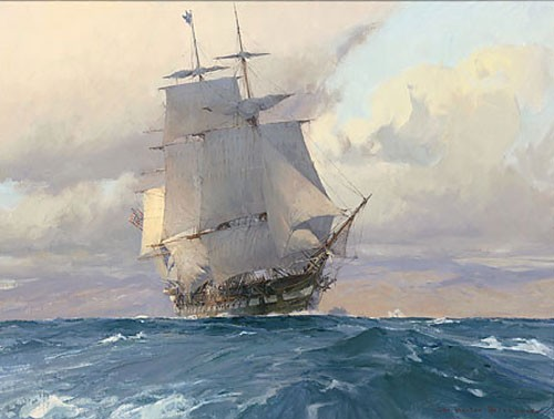 Christopher Blossom U.S. Frigate Congress on the California Coast Canvas