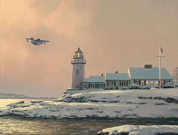 William Phillips Afternoon Departure at Stoney Point Light Canvas