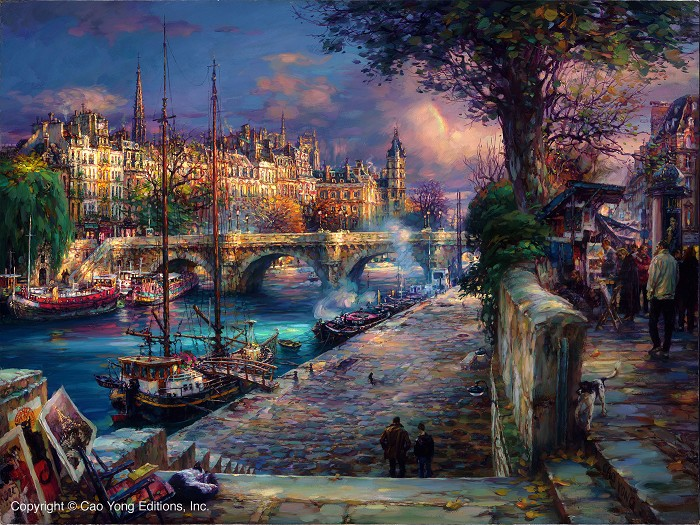 Cao Yong Banks Of La Seine Giclee On Canvas The Paris Series