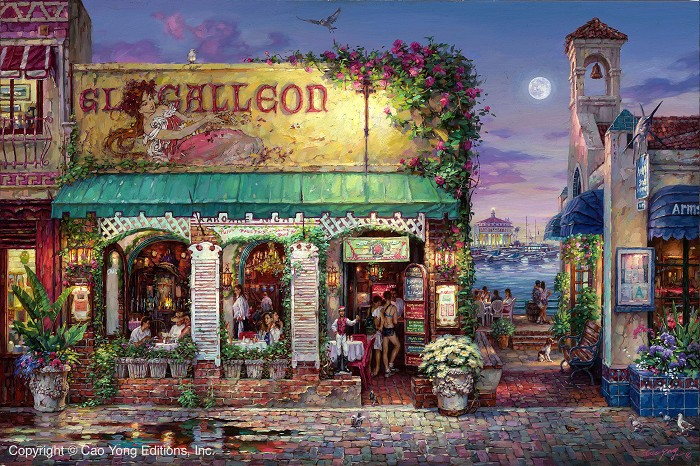 Cao Yong Cafe Bella Giclee Giclee On Canvas The Golden Coast Series