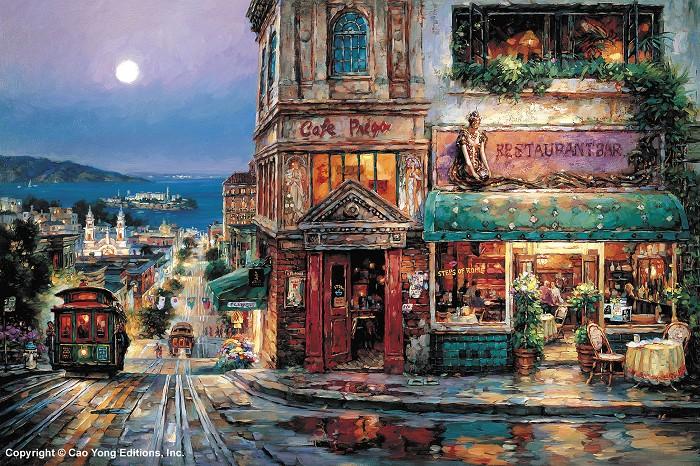 Cao YongCafe Prego GicleeGiclee On Canvas The Golden Coast Series