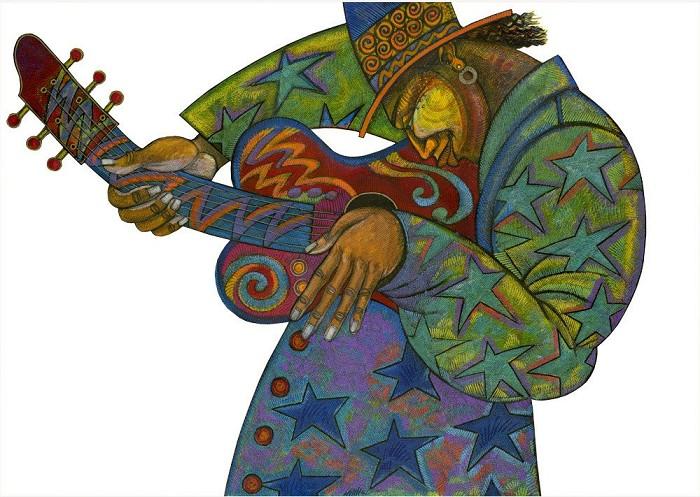 Charles BibbsBig Man Guitar Hand EnhancedGiclee On Paper
