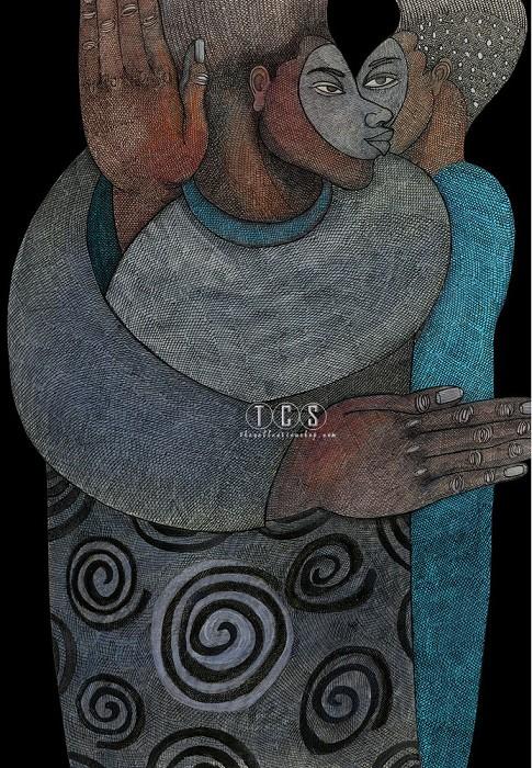 Charles BibbsEye To Eye Giclee (black Background)