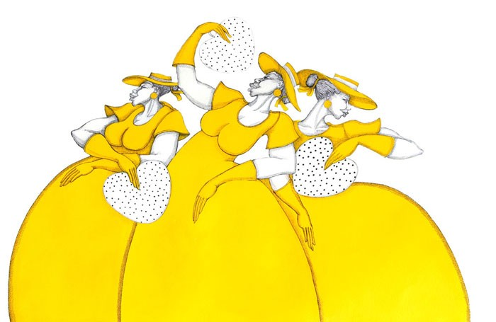 Charles BibbsLADIES WITH POLKA DOTS FANS REMARQUEGiclee On Paper
