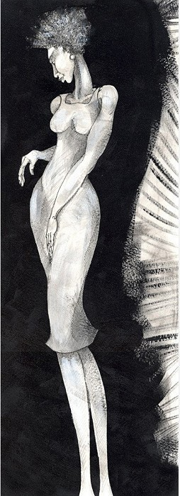 Charles Bibbs Long Leg Lady Giclee On Paper