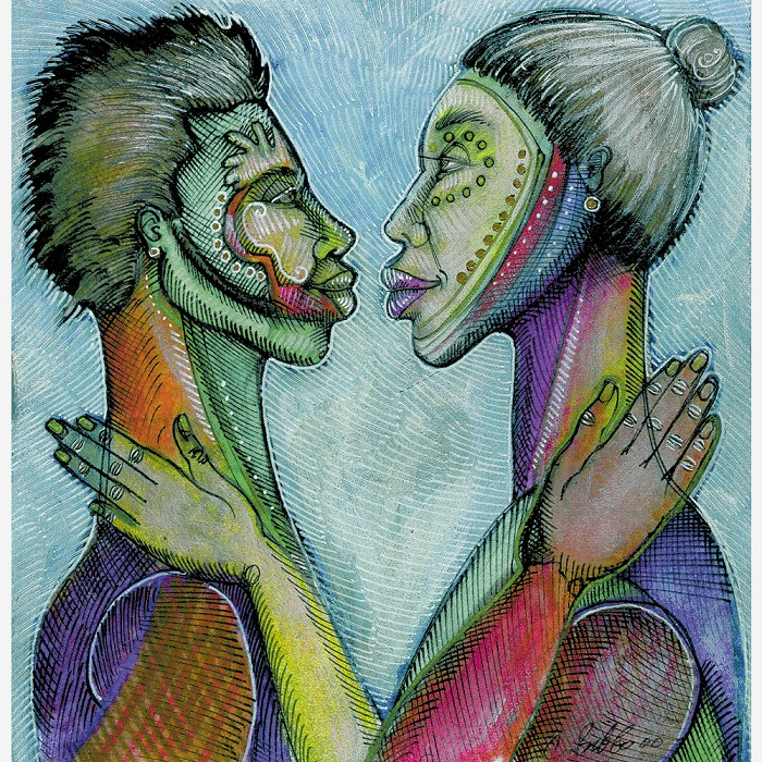 Charles Bibbs The Lovers Look Hand Enhanced Giclee On Paper