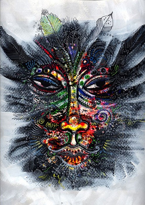 Charles Bibbs Mask Number 1 Collaboration with Sabrina Gibson Giclee On Paper