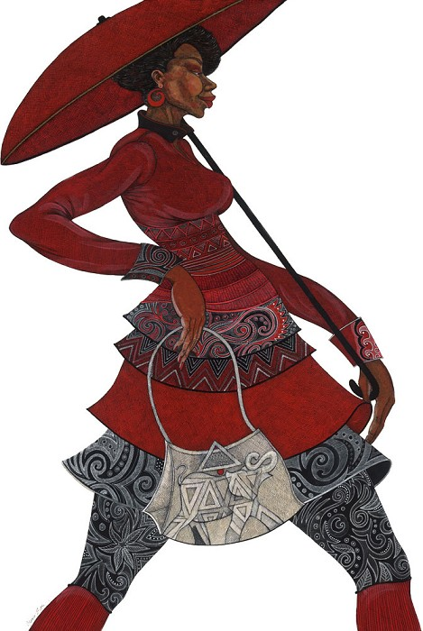 Charles Bibbs The Red Umbrella II  Lithograph