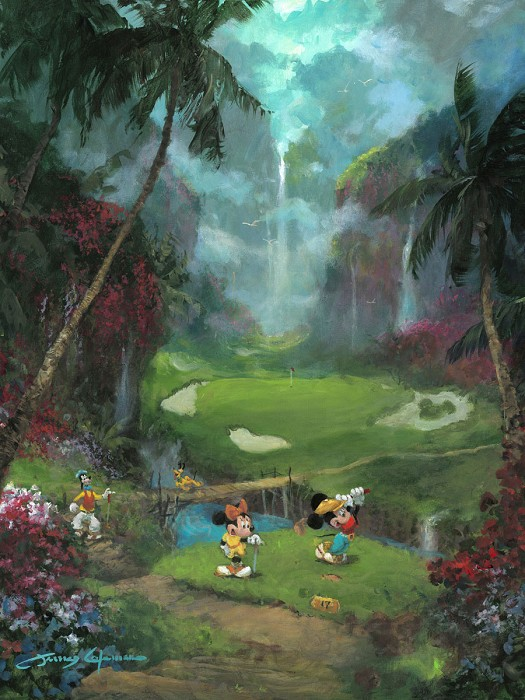 James Coleman 17th Tee in Paradise Hand-Embellished Giclee on Canvas