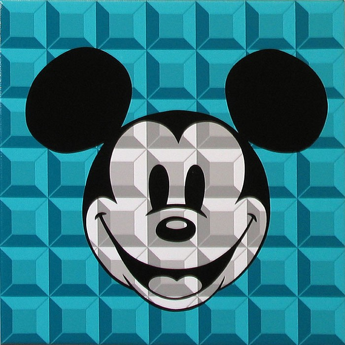 Tennessee Loveless 8 Bit-Block Mickey Aqua Serigraph on Canvas