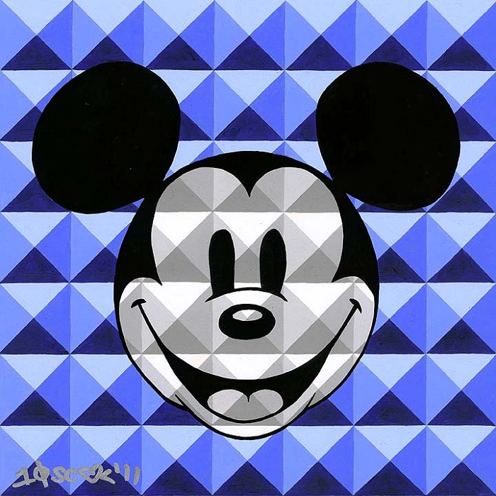 Tennessee Loveless8 Bit-Block Mickey BlueSerigraph on Canvas