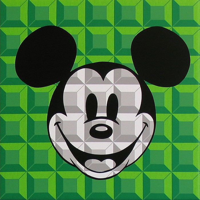 Tennessee Loveless 8 Bit-Block Mickey Green Serigraph on Canvas