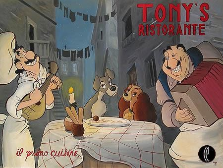 Tricia Buchanan Benson Tonys Ristorante  (us Edition) - From Lady and The Tramp Giclee On Canvas