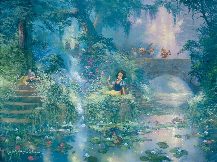 James ColemanPicking Flowers Snow White And The Seven DwarfsGiclee On Canvas