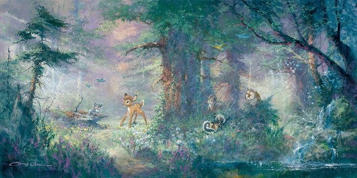 James Coleman Springtime In The Meadows Bambi Giclee On Canvas