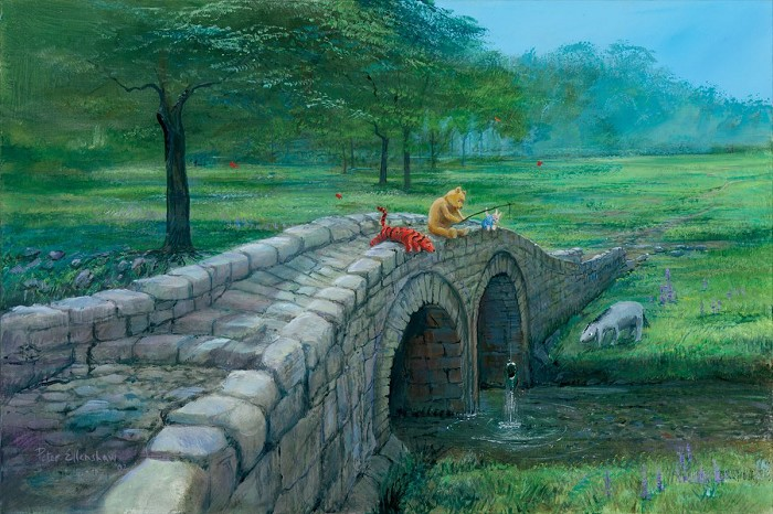 Peter Ellenshaw Fishing With Friends Winnie The Pooh Giclee On Canvas
