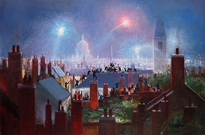 Peter Ellenshaw Sweeps Dance On The Roof Tops - From Mary Poppins Giclee On Canvas