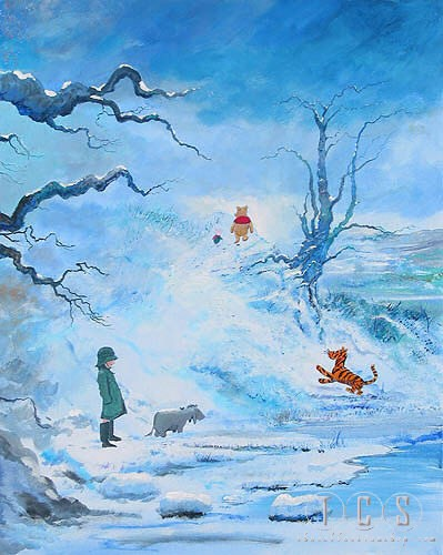 Peter / Harrison Ellenshaw Winter In The 100 Acre Wood Winnie The Pooh Seriagraph on Canvas