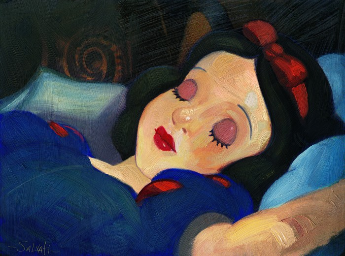 Jim Salvati Snow White Giclee On Canvas