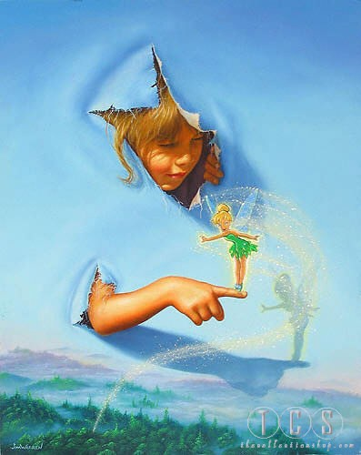 Jim Warren Making Friends - From Peter Pan Giclee On Canvas