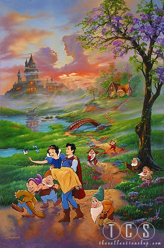 Jim Warren Snow Whites Romance Artist Proof - From Snow White and the Seven Dwarfs  Giclee On Canvas