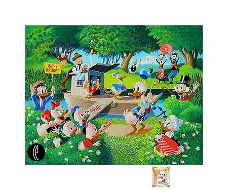 Carl Barks Surprise Party Remarque- From Donald Duck Serigraph on Paper