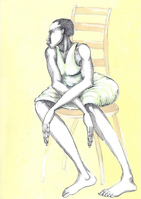 Charles BibbsA Chair & A Lady Hand EnhancedGiclee On Paper