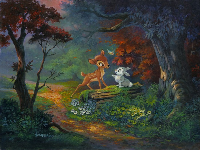 Michael Humphries A Friendship Blossoms From The Movie Bambi Hand-Embellished Giclee on Canvas