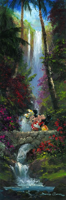 James ColemanA Kiss by the Falls Mickey And MinnieOriginal Oil on Canvas