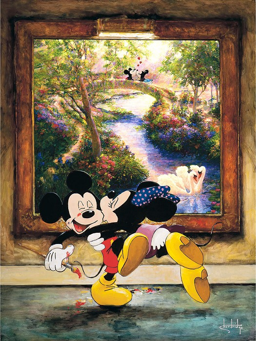 Stephen Shortridge A Kiss for a Kiss - Mickey and Minnie Hand-Embellished Giclee on Canvas