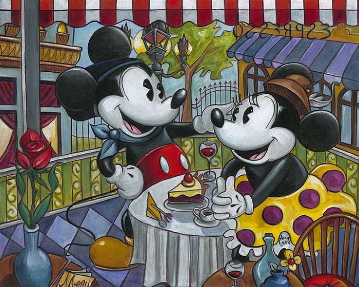 Amy Lynn  Café Mickey Giclee On Canvas