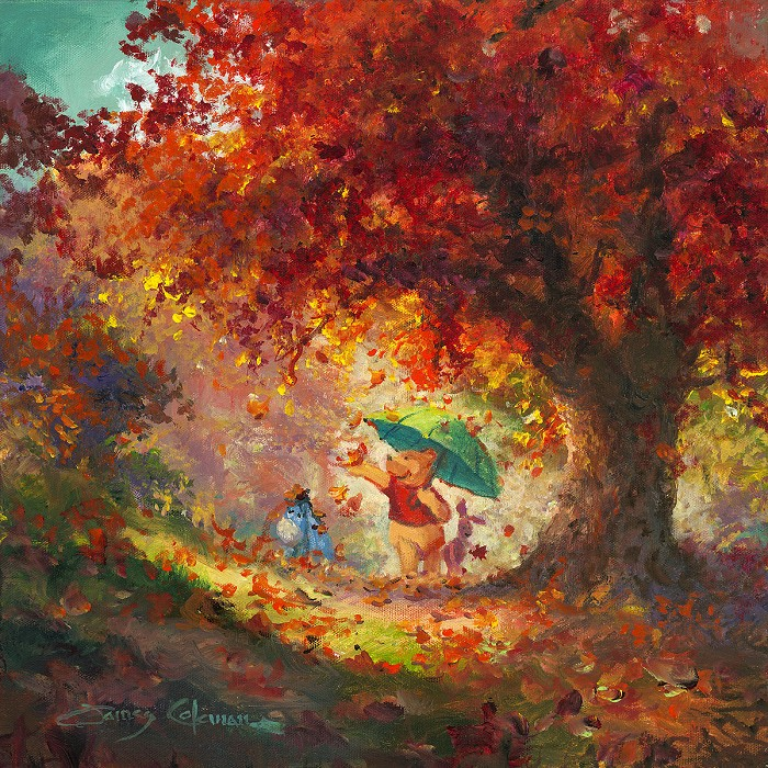 James Coleman Autumn Leaves Gently Falling From Disney Winnie The Pooh Original Oil on Canvas