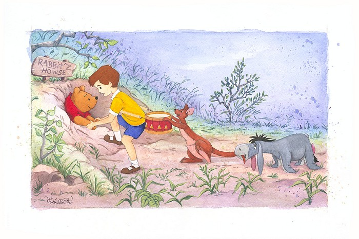 Michelle St Laurent A Little Help From Friends From Disney Winnie The Pooh Custom Framed Original Watercolor on Paper