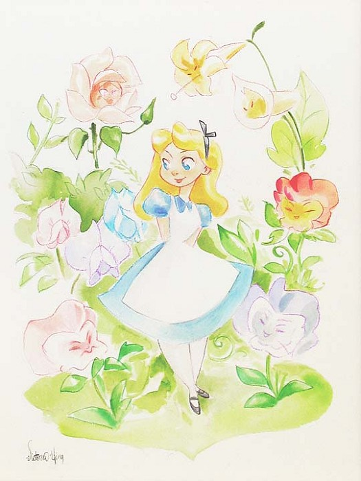 Victoria Ying Alice and Flowers From Disney Alice In Wonderland Original Watercolor on Paper
