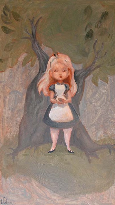 Victoria Ying Alice in the Woods From Alice In Wonderland Original Acylic on Board