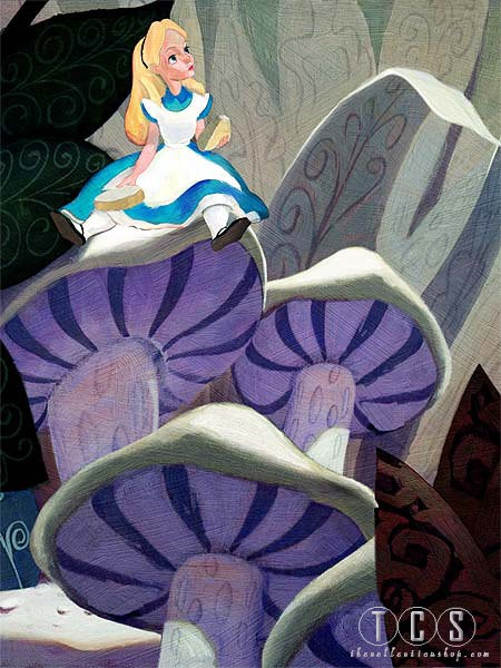 Jim Salvati Alice (on Mushroom) - From Alice in Wonderland Giclee On Canvas