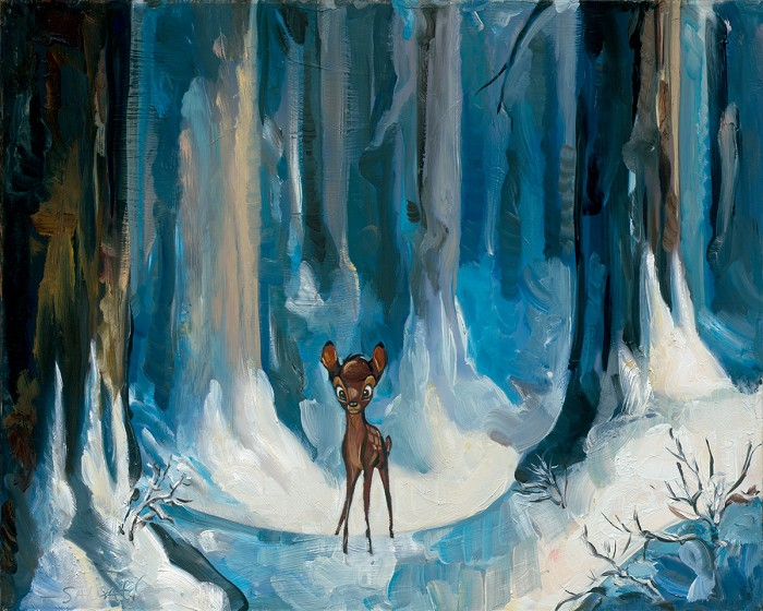 Jim Salvati Alone In The Woods - From Disney Bambi Giclee On Canvas