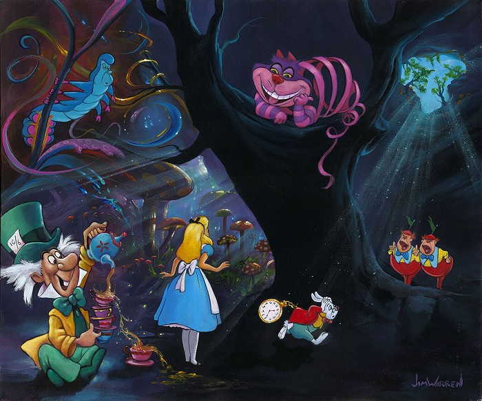 Jim Warren Alice in the Rabbit Hole Hand-Embellished Giclee on Canvas