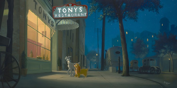 Rob Kaz A Night with Lady - From Disney Lady and The Tramp Hand-Embellished on Canvas