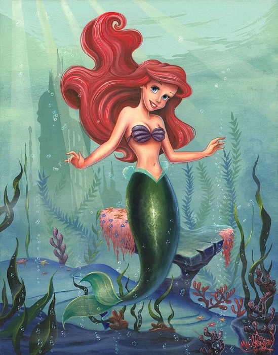 James C Mulligan Ariel - From Disney The Little Mermaid Hand-Embellished Giclee on Canvas