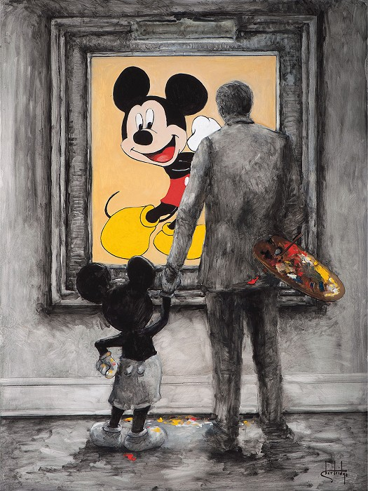 Stephen Shortridge Art Partners - Disney Walt and Mickey Hand-Embellished Giclee on Canvas