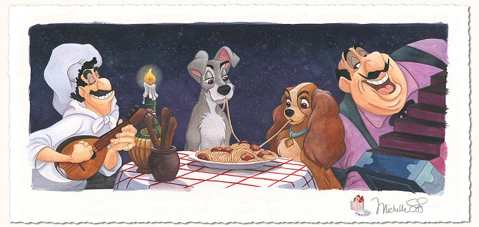 Michelle St Laurent A Serenade for Lady - From Lady and The Tramp Hand-Remarqued by the Artist on Hand-Deckled Pape