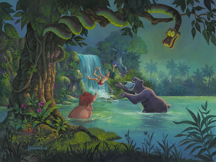 Michael Humphries At Home in the Wild From The Movie Jungle Book Hand-Embellished Giclee on Canvas