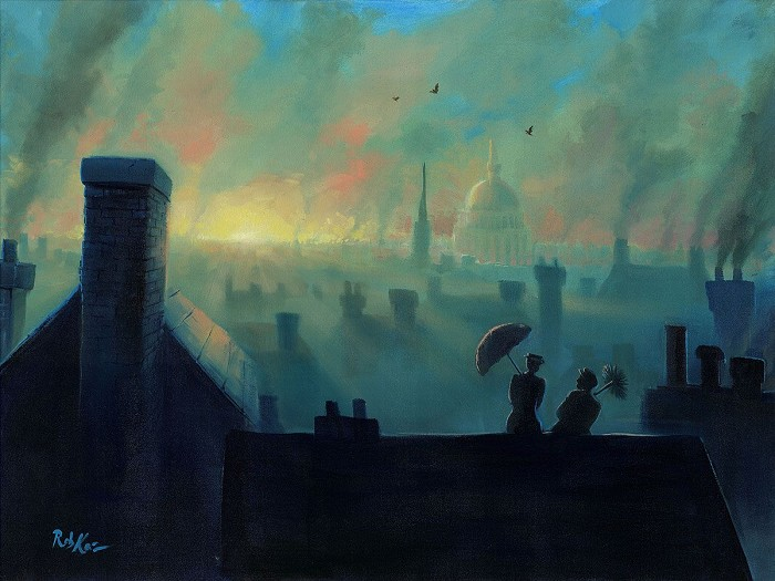 Rob Kaz  A View from the Chimneys Hand-Embellished Giclee on Canvas