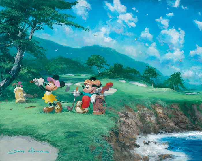 James Coleman Day At The Beach Mickey And Minnie Mouse Giclee On Canvas