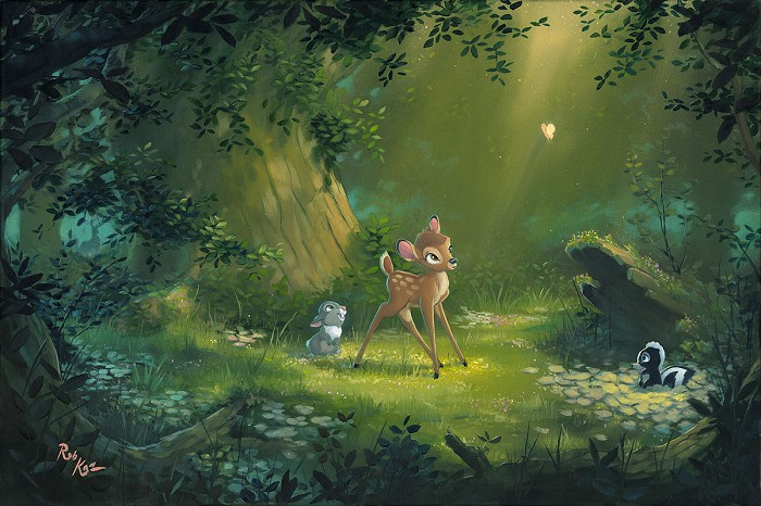 Rob Kaz  The Beauty of Life - From Disney Bambi Hand-Embellished on Canvas