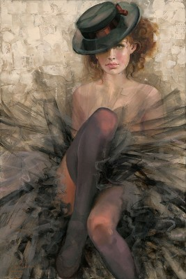 Irene Sheri Black Tulle Hand-Embellished Giclee on Canvas