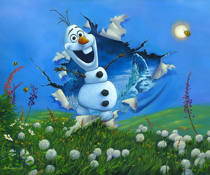 Jim Warren Bursting Into Spring From The Movie Frozen Hand-Embellished Giclee on Canvas